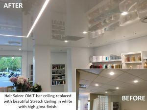 Replacement of old T-bar ceiling in Hair Salon