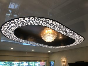 Oval Stretch Ceiling Design with backlit and custom print