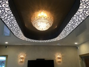 Custom Stretch Ceiling Design with illuminated oval channel with custom print