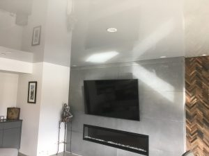 Living Room high gloss grey Stretch Ceiling