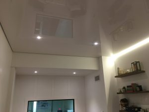 High gloss office ceiling with ambient LED lighting