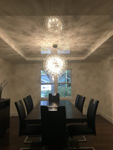 Tray Ceiling with high gloss white Stretch Ceiling