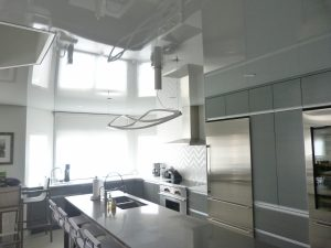 Kitchen with high gloss Stretch Ceiling